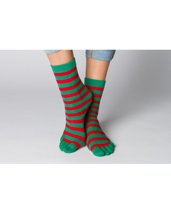 Combed cotton striped toe socks 534