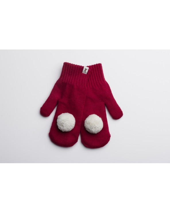 100% Wool double mittens with Pompoms  415