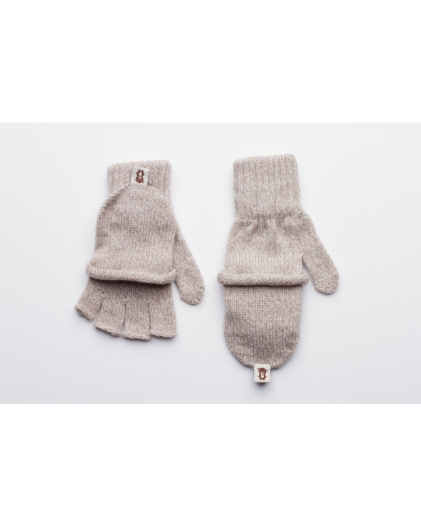 100% Wool fingerless gloves with fold back pocket 720