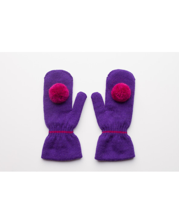 100% Wool double mittens with Pompoms for kids 874