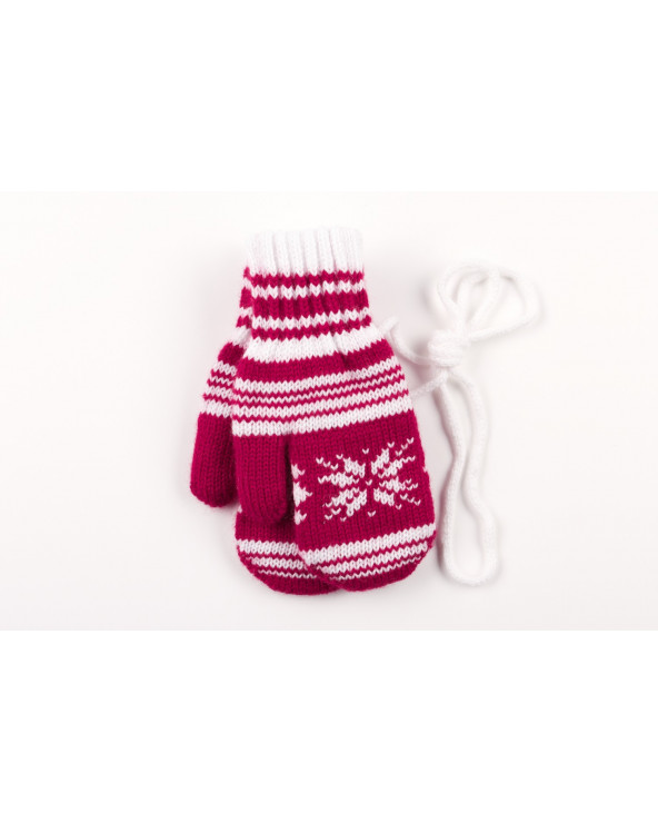 100% Wool double mittens with cotton lining for kids 690