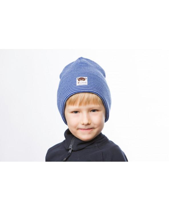 Vaikiška pusvilnonė dviguba atlenkiama kepurė 406