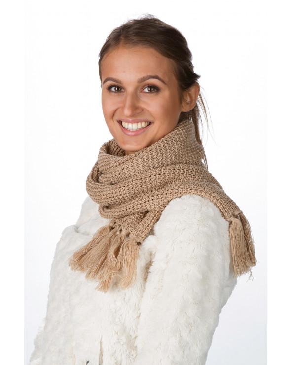 Fringed semi - wool scarf 982