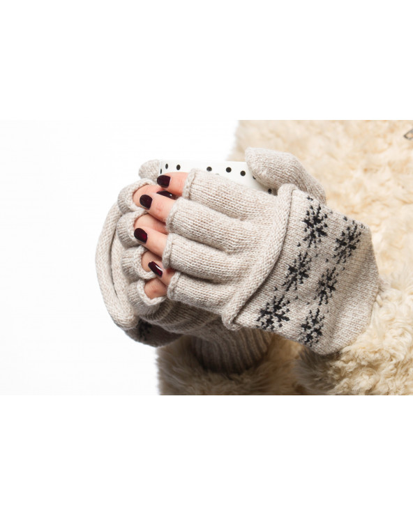 100% Wool fingerless gloves with fold back pocket 109