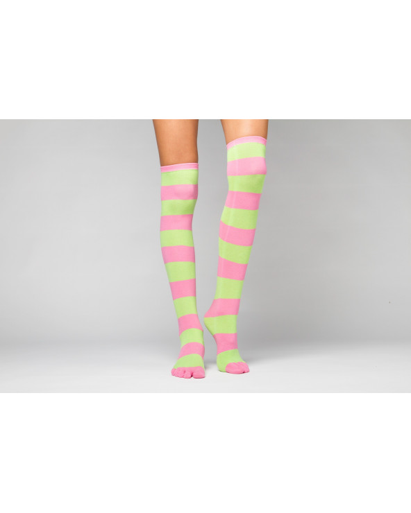 Combed cotton striped toe socks over the knee 210 (thin)