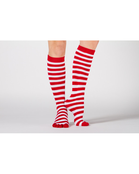 Toe knee high combed cotton striped socks 602
