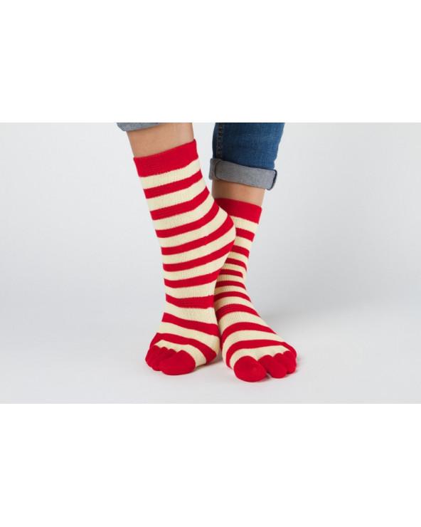 Dryžuotos pirštuotos kojinės