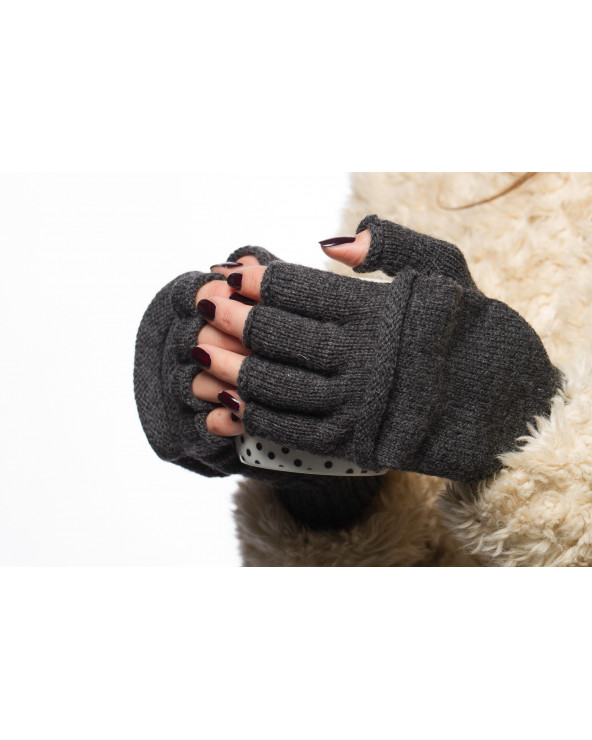 100% Wool fingerless gloves with fold back pocket  751